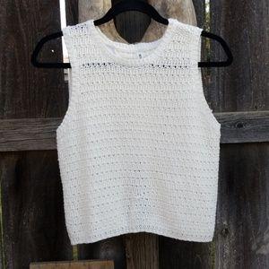 White/Cream slit back sweater tank